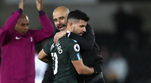 Sergio Aguero appeared unhappy with Pep Guardiola substituted him on Saturday