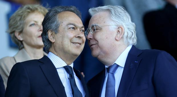 Bill Kenwright (right) praised the impact made by Farhad Moshiri after Everton announced record profits