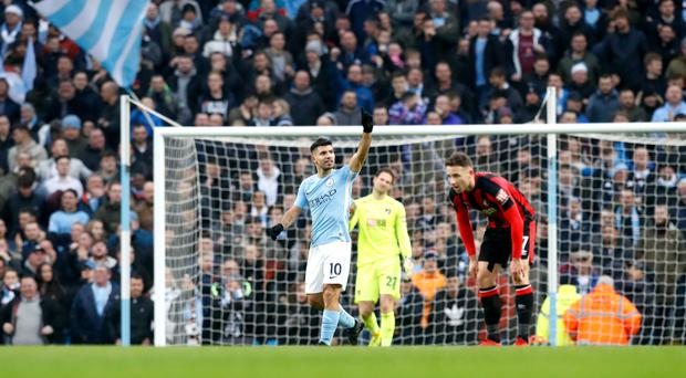 Sergio Aguero passed a century of goals at the Etihad Stadium in Manchester City's victory over Bournemouth