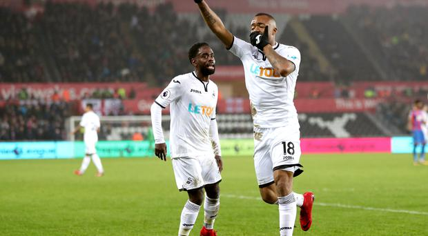 Jordan Ayew celebrates his equaliser