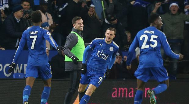 Leicester's Jamie Vardy, pictured centre, has racked up 50 Premier League goals