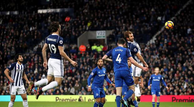 West Brom's Craig Dawson wastes a fine chance for the Baggies during their 0-0 draw with Everton.