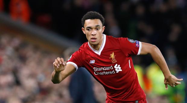 Trent Alexander-Arnold scored his first goal at Anfield against Swansea