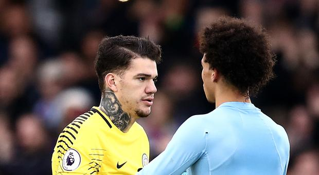 Manchester City goalkeeper Ederson (left) saved a late penalty in a goalless draw at Crystal Palace