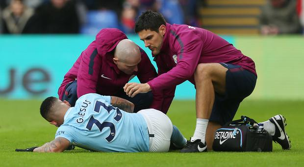 Manchester City's Gabriel Jesus suffered knee ligament damage in the draw at Crystal Palace