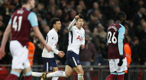 Tottenham's Son Heung-min celebrates his spectacular equaliser
