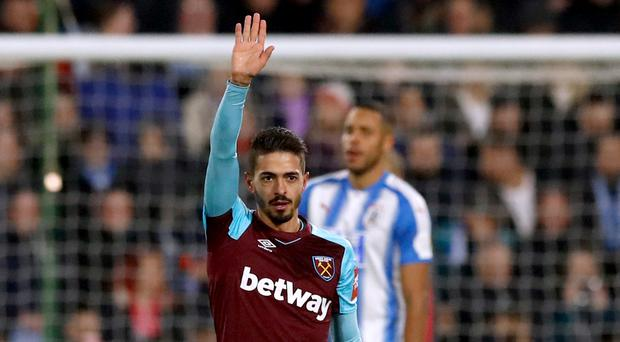 Manuel Lanzini netted twice for West Ham at the John Smith's Stadium