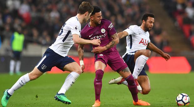 Kyle Walker, centre, made a winning return to Tottenham on Saturday