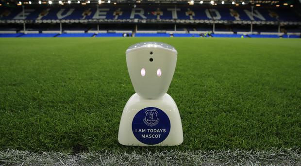 The robot mascot used at Goodison Park on Monday
