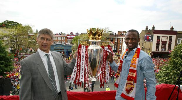 Robert Pires feels Patrick Vieira (right) is the man ready to take on the Arsenal job after Arsene Wenger (PA Images)