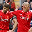 New Rangers boss Steven Gerrard, left, is set to bring in former Liverpool team-mate Martin Skrtel, according to the latest rumours.