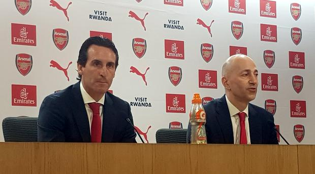 Arsenal chief executive Ivan Gazidis and new manager Unai Emery (left)