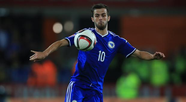 Bosnia and Herzegovina's Miralem Pjanic was believed to be a target for Manchester City (Nick Potts/PA)