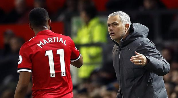 Jose Mourinho is becoming increasing frustrated with Anthony Martial (Martin Rickett/PA)