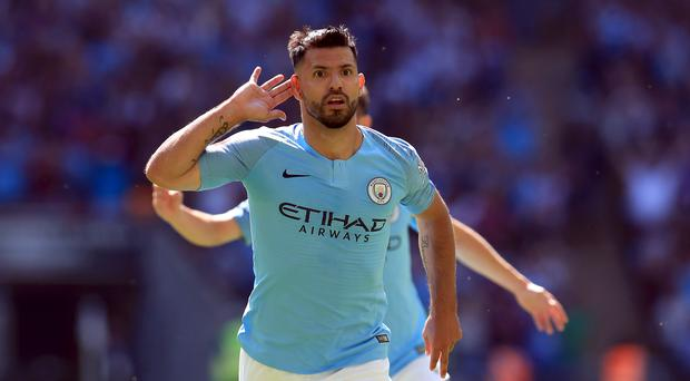 Manchester City's Sergio Aguero celebrates scoring his side's first goal of the game during the Community Shield match at Wembley Stadium, London.
