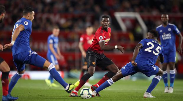 Pogba, centre, was impressive in Manchester United's win over Leicester (Nick Potts/PA)