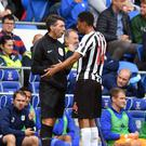 Newcastle's Isaac Hayden appeals with the fourth official after being shown a red card in the 0-0 draw at Cardiff (Simon Galloway)