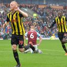Watford's Will Hughes celebrates the visitors' third goal (Dave Howarth/PA)