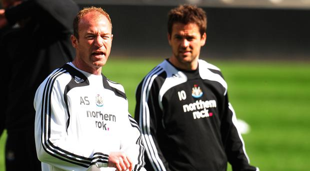 Alan Shearer (left) with Michael Owen during their Newcastle days (Owen Humphreys/PA)