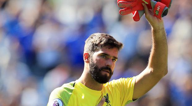 Liverpool goalkeeper Alisson's mistake gave Leicester a goal. (Mike Egerton/PA)