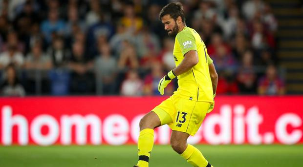Liverpool goalkeeper Alisson conceded his first goal of the season. (Nick Potts/PA)