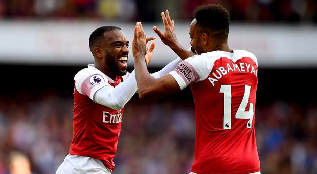 Arsenal strikers Alexandre Lacazette (left) and Pierre-Emerick Aubameyang both scored in Sunday's win over Cardiff (Victoria Jones/PA)