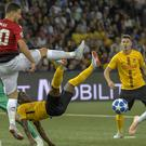 Diogo Dalot, second left, impressed in midweek but must bide his time in the Premier League (Alessandro Della Valle/AP)