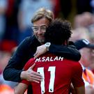 Liverpool manager Jurgen Klopp insists there is no concern over Mohamed Salah's early-season form (Dave Thompson/PA).