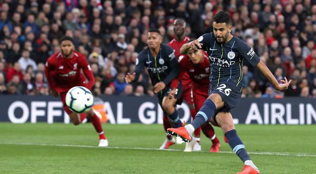 Riyad Mahrez wasted a glorious chance for Manchester City to beat Liverpool (Martin Rickett/PA)