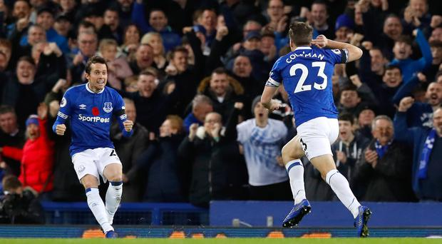 Seamus Coleman (right) registered his first goal for 652 days (Martin Rickett/PA)