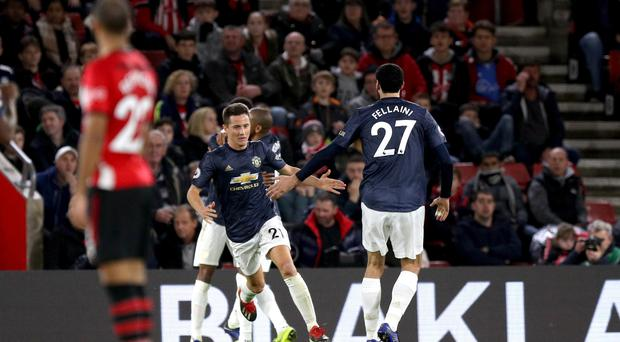 Manchester United's Ander Herrera (second left) celebrates scoring his side's second goal of the game during the Premier League match at St Mary's Stadium, Southampton.