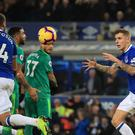 Everton's Lucas Digne celebrates scoring his side's second goal of the game during the Premier League match at Goodison Park, Liverpool.