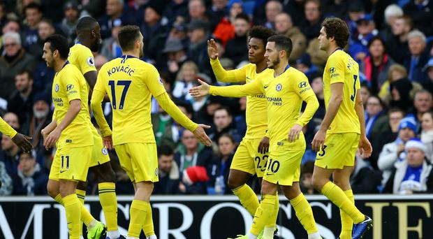 Eden Hazard, second right, was in top form for Chelsea (Gareth Fuller/PA)