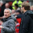 Manchester United manager Jose Mourinho is a long way behind Liverpool counterpart Jurgen Klopp in the Premier League table (Martin Rickett/PA)
