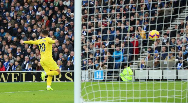 Eden Hazard was on the scoresheet for Chelsea at Brighton (Gareth Fuller/PA)