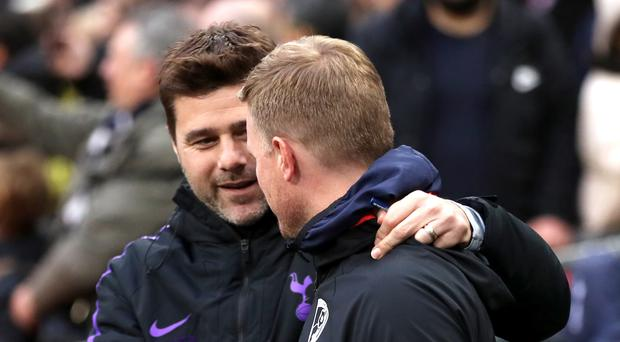 Tottenham manager Mauricio Pochettino, left, and Bournemouth manager Eddie Howe, came face to face at Wembley (Adam Davy/PA)