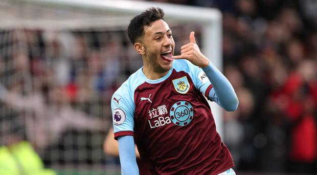 Burnley's Dwight McNeil celebrates his first Premier League goal (Richard Sellers/PA).