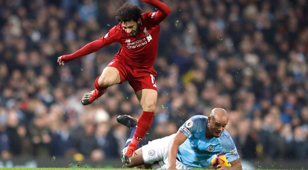 Liverpool manager Jurgen Klopp was unhappy with Vincent Kompany's tackle on Mohamed Salah in the 2-1 defeat at the Etihad Stadium (Martin Rickett/PA)