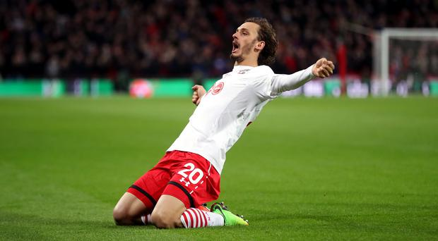 Manolo Gabbiadini scored for Southampton twice in the EFL Cup final (Nick Potts/PA)
