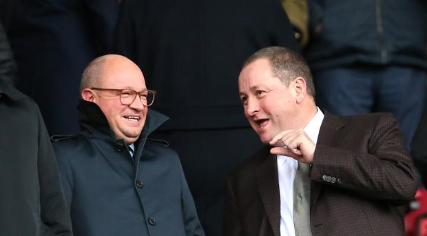 Newcastle owner Mike Ashley, right, with managing director Lee Charnley (Mark Kerton/PA)
