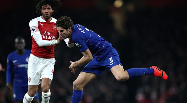 Marcos Alonso (centre) is keen to use the display against Arsenal as motivation (Nick Potts/PA)