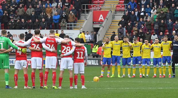 On Saturday, tributes were paid to the missing men before games including Rotherham v Leeds (Dave Howarth/PA)