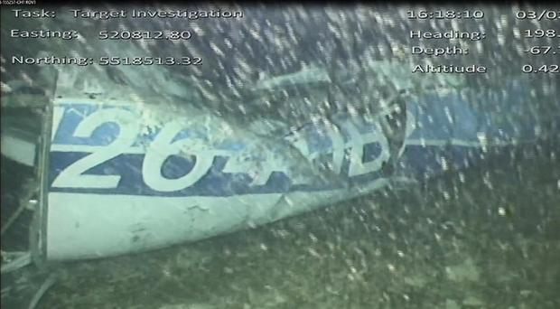 Still from a video issued by the Air Accidents Investigation Branch showing part of the wreckage of the plane which was carrying Emiliano Sala (AAIB)