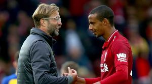 Joel Matip will be Jurgen Klopp's only fit and available centre-half for next week's game against Bayern Munich.