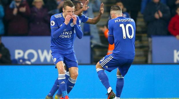 Leicester's Jamie Vardy, left, celebrates his ninth goal of the season (Nigel French/PA)