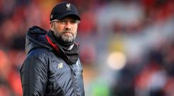 Liverpool manager Jurgen Klopp does not Manchester City will struggle if they have to chase them in the title race (Peter Byrne/PA)