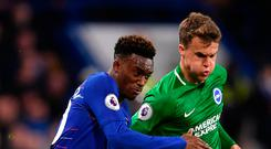 Control: Callum Hudson-Odoi holds off Solly March