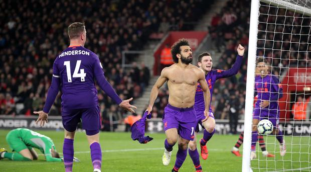 Mohamed Salah ended a mini goal drought with a fine strike at St Mary's (Adam Davy/PA)