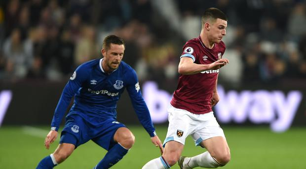 West Ham's Declan Rice is reportedly wanted by Manchester United (Daniel Hambury/PA)