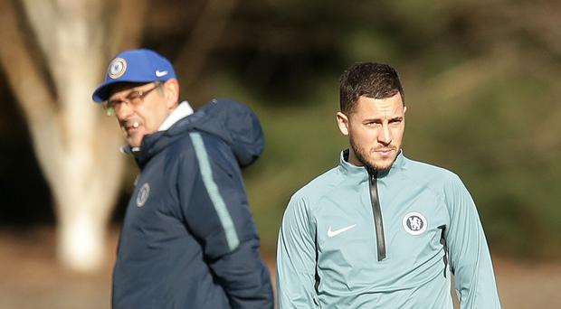 Eden Hazard, right, has hailed Maurizio Sarri, left, for sharing his footballing philosophy (Adam Davy/PA)